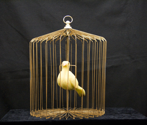 Appearing Bird cage - Huge, Gold Steel