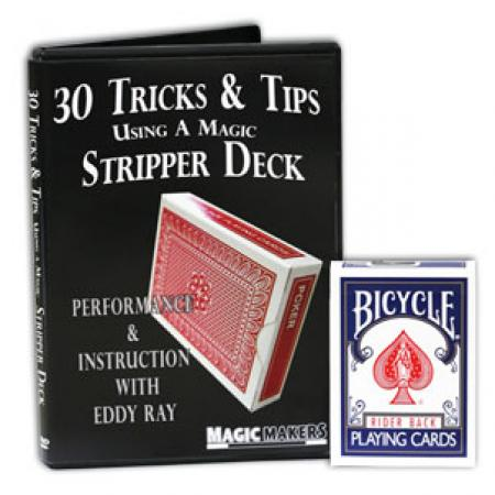 Blue Bicycle Stripper Deck Factory Sealed with 30 Tricks & Tips Using A Magic Stripper Deck DVD