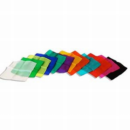 Assorted 6 inch Colored Silks- Professional Grade (12 Pack)
